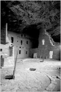 """Spruce Tree House"" Construction of this ancient community of Ancestral Puebloans dates back to between A.D. 1211- 1278. The enclave's opening, standing some 89' high and 216' in width, makes ""The Spruce Tree House"" the third largest cliff dwelling in Mesa Verde N.P. For more information on this facinating site visit:  http://www.nps.gov/meve/historyculture/cd_spruce_tree_house.htm"