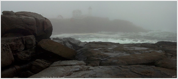 """Lost"" Nubble Light on Cape Neddick, located in York, Maine; appears ""lost"" in a thick fog atop it's rocky post. The fog and rough seas stayed in the area for two solid days before clearing up for a beautiful weekend."