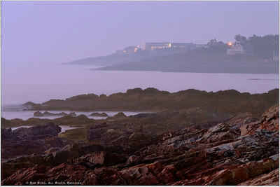 """Harbor Lights"" Dawn breaks through a fogged-over harbor along Ogunquit Maine's Marginal Way."