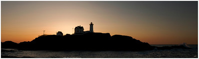 """Perfect Start"" Nubble Light at sunrise on Maine's rocky Cape Neddick, located just soutth of Ogunquit. For more information, visit:  http://www.lighthouse.cc/capeneddick/"