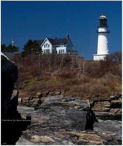 """Americana"" A deep blue midday sky, the stars and stripes waving in a cool breeze, and the vivid white tower of one of Cape Elizabeth's ""Two Lights"", located near Portland, Maine; are all the ingredients needed for this slice of Americana.  Lunch? Lobster Shack, of course!  visit: http://lobstershacktwolights.com/"