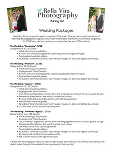 Wedding price list 2018