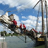 Richard Payerchin - The Morning Journal <br> The crew of the Pride of Baltimore II work on the bowsprit upon the tall ship's arrival in Lorain on Sept. 2, 2016. The vessel will dock in Lorain for Labor Day weekend. Public tours will be 10 a.m. to 2 p.m., Sept. 3, 4 and 5, at a cost of $5 per person. Children age 5 and younger will be admitted free. Day sails will be 3-5 p.m., Sept. 3, 4 and 5, for $65 for people 13 and older, or $35 for children 12 and younger. Advance ticket sales will be available through www.pride2.org and on the day of the cruises.