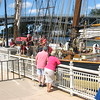 Richard Payerchin - The Morning Journal <br> Spectators at Black River Landing watch the crew of Pride of Baltimore II work upon the tall ship's arrival in Lorain on Sept. 2, 2016. The vessel will dock in Lorain for Labor Day weekend. Public tours will be 10 a.m. to 2 p.m., Sept. 3, 4 and 5, at a cost of $5 per person. Children age 5 and younger will be admitted free. Day sails will be 3-5 p.m., Sept. 3, 4 and 5, for $65 for people 13 and older, or $35 for children 12 and younger. Advance ticket sales will be available through www.pride2.org and on the day of the cruises.