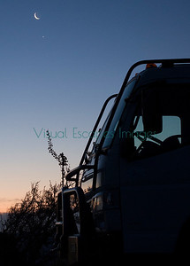 EarthCruiser morning with the crescent moon and Venus Twin Pt Arizona