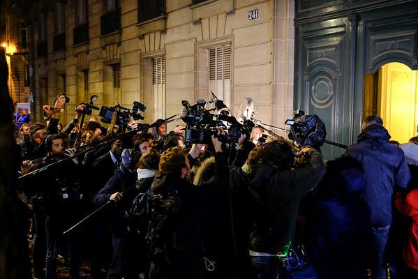 Devant le QG de François Fillon . Paris  -  1er tour -  20/11/16