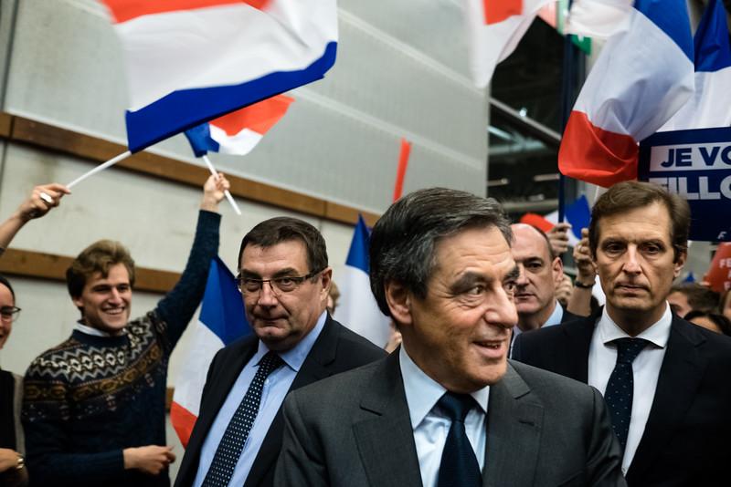 Arrivée de François Fillon, meeting à Paris, Porte de Versailles, 26/11/2016