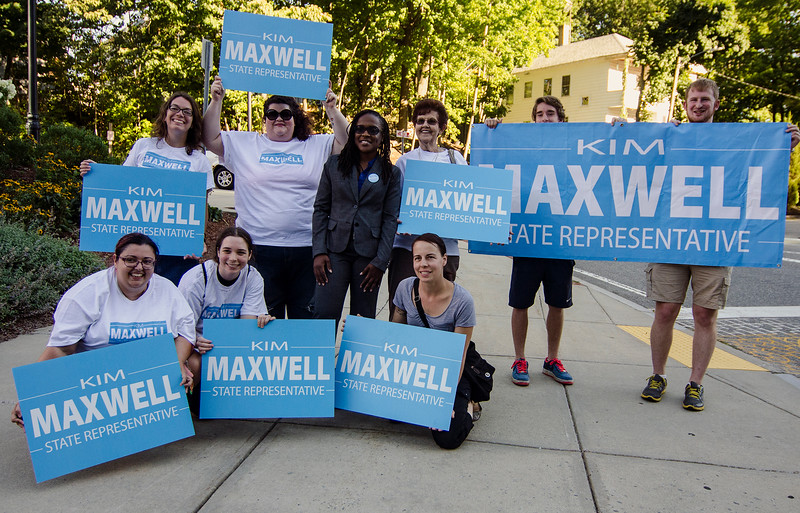 Kimatra Maxwell joins her supporters outside of Fitchburg State University on Monday evening ahead of the debate against current State Representative Stephan Hay. SENTINEL & ENTERPRISE / Ashley Green