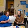 Sandy Ellis and Tom Ashton at Natalie Higgins headquarters during the primary elections on Thursday. SENTINEL & ENTERPRISE / Ashley Green