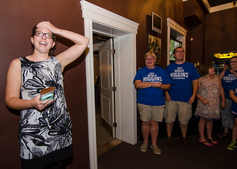 An emotional and excited Natalie Higgins arrives at the Luxury Box in Leominster after winning the Democratic State Rep. race during the primary election on Thursday. SENTINEL & ENTERPRISE / Ashley Green
