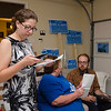 Natalie Higgins makes some final calls encouraging voters to come out to the polls during the primary elections on Thursday in Leominster. SENTINEL & ENTERPRISE / Ashley Green
