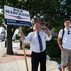 State Representative candidate Rick Marchand campaigns outside Leominster City Hall during the primary elections on Thursday. SENTINEL & ENTERPRISE / Ashley Green