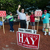 Stephan Hay campaigns in downtown Fitchburg during the primary elections on Thursday. SENTINEL & ENTERPRISE / Ashley Green