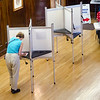 Voters cast their ballots at Leominster City Hall during the primary elections on Thursday. SENTINEL & ENTERPRISE / Ashley Green