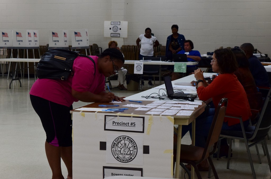 . Candidates, their supporters and voters came out to the polls across the city on Tuesday, Aug. 8, 2017 to cast their ballot for Pontiac�s primary election.