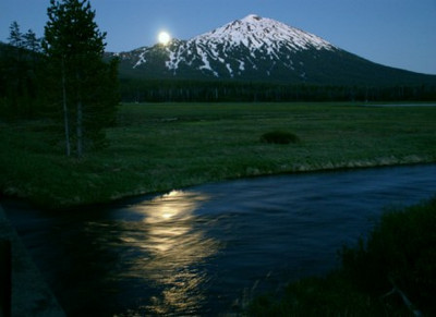 Mt Bachelor, Oregon Taken in the late evening...that is the moon coming up.