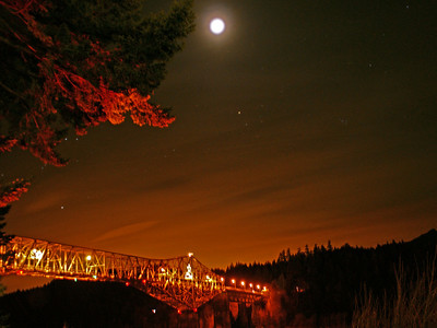 Bridge of the Gods - Cascade Locks....with the moon.  Taken from the path behind the Columbia River Inn Hotel... very nice place to stay...