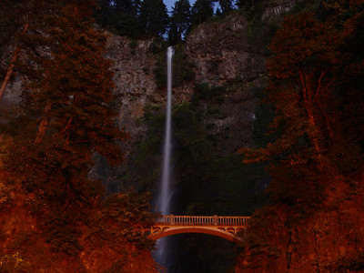 Multnomah Falls...late night shoot...love the way the street light redden up the scenery