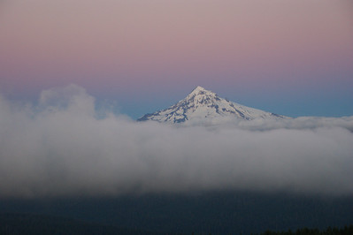 Mt Hood, Oregon Taken from Larch Mountain.... Evening sunset putting a pink cast on the sky and mountain....