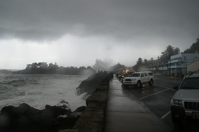 Winter storm hitting Depot Bay, Or
