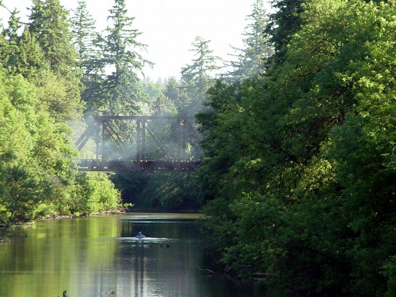 Railway Bridge at Tualatin Community Park with a haze of smoke from BBQ's