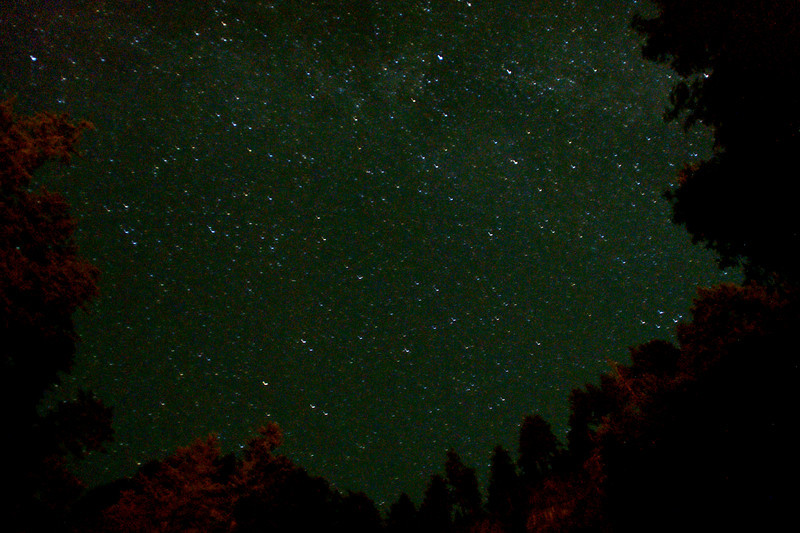 very grainy...but I just love all the stars...Multnomah Falls, Oregon