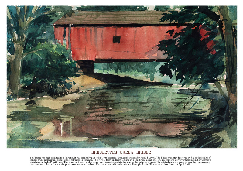 This covered bridge crossing Broulettes Creek was on the south border of Universal, Indiana. I painted it on location in the late afternoon as the sun was shining from the right.