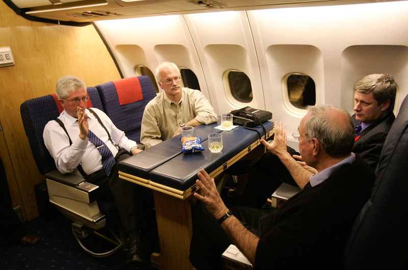 Prime Minister Paul Martin meets with Conservative leader Stephen Harper, Bloc Quebecois leader Gilles Duceppe and NDP leader Jack Layton on route to Ottawa from The Netherlands.