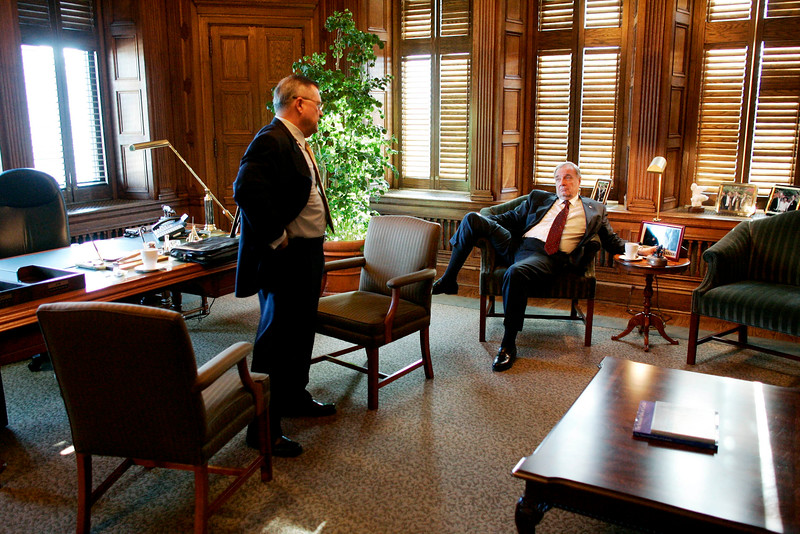 Prime Minister Paul Martin meets with Finance Minister Ralph Goodale prior to delivering the budget on Parliament Hill in Ottawa.