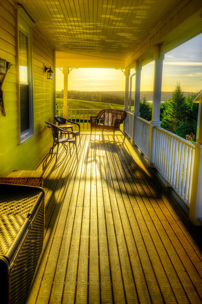Morning sunshine streaming over the porch near Stanley Bridge, Prince Edward Island. 24 August, 2013.