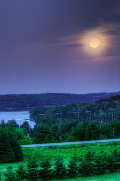 Moonrise 22 August, 2013 near Kensington, Prince Edward Island.