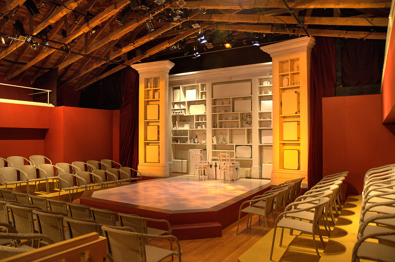 The set for Travels with my Aunt at the Montgomery Theatre in North Rustico, PEI. 19 July, 2012. Why is it that performances at tiny country theatres seem to be among the best you'll ever see? This production was great.
