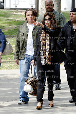Prince Jackson and La Toya Jacson on the set of Beverly Hills 90210 in Los Angeles,California on March,4 2012