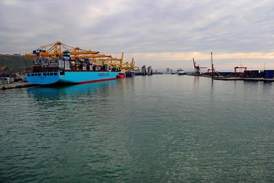 Entering Barcelona harbor