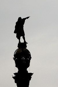 Statue of Columbus actually pointing to our ship, Ruby Princess.  It became our landmark.