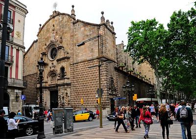 """17th-century church """"Iglesia Parroquia de la Mare de Déu de Belen"""" on corner of La Ramba and Carrer de Carme"""