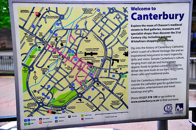 Canterbury town map Canterbury was a walled village and remnants of the wall are visible.