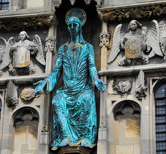 the Canterbury Cathedral Gate and statue of Christ