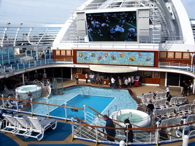 Sunday departure in January and the NFL Playoff games are on a 16 foot screen TV on the 15th deck on the Emerald Princess.