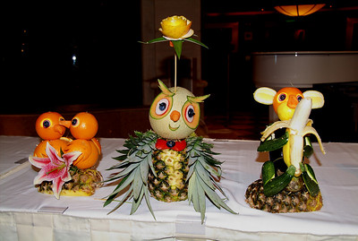Fruit carvings by some of the chefs on the Emerald Princess