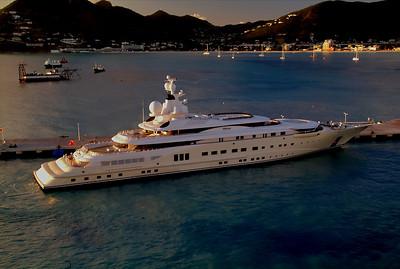 Multi-million dollar yacht docked next to the Emerald Princess