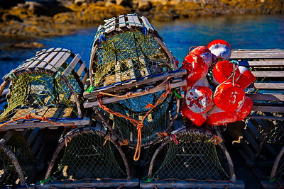 Wooden Lobster Traps and Floats