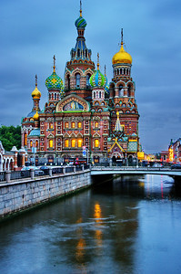 Church on the Spilled Blood at dusk