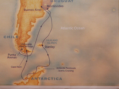 Map of cruise route of Star Princess