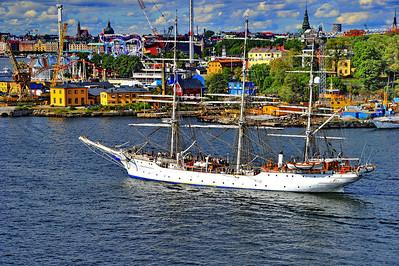 Three mast ship sailing into Stockholm harbor