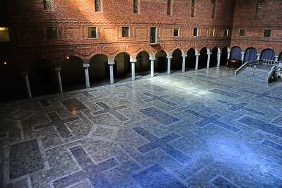 The Blue Hall of the Stockholm City Hall was supposed to be painted blue, but the architect changed his mind when he saw the beautiful red brick walls. Although he decided to not cover the brick with blue plaster, he kept the name Blue Hall since it was found on all the plans of the building. The Blue Hall is the City Hall's largest room, and the Nobel Prize Banquet takes place here on December 10 every year.