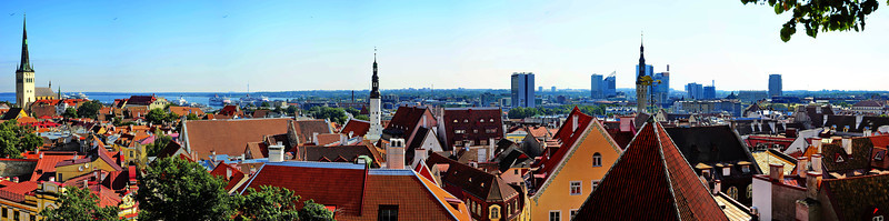 Panoramic view of the old town with modern Tallinn in the horizon
