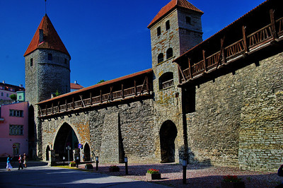 The old town of Estonia is surrounded by a huge wall with narrow gates.