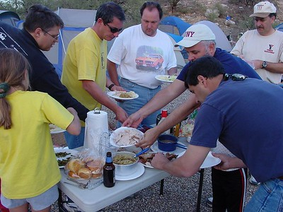Dinner Time! A full Thanksgiving feast with all the works is a Yavapai tradition on our November campout.