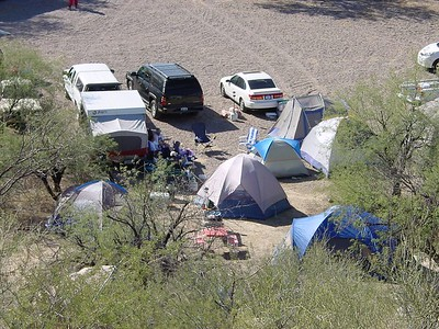 The Yavapai camp, seen from the ridge above.